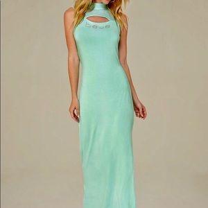 Bebe Shirley Mesh Maxi Dress M - Ice Green